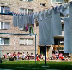 Vor einem Plattenbau im früheren Ostberliner Stadtbezirk Hellersdorf sitzen im Jahr 1985 junge Frauen auf Klappstühlen und Bänken und sind in Gespräche vertieft, während ihre Kinder im Sandkasten und auf der Wiese vor dem Wohnblock in der Sonne spielen. | Bildrechte: dpa