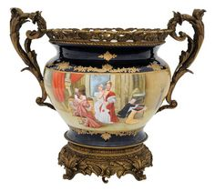 Large Sevres style porcelain centerpiece bowl with bronze mounts, 20th Century