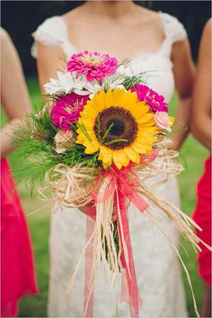 Beautiful Rustic/Shabby Chic/Country Bridal Bouquet Showcasing: Sunny Yellow Sunflower, Peach Roses, White Gerberas, Hot Pink Zinnias & Greenery/Foliage Hand Tied With A Straw & Coral Organza Ribbon/Bow>>>>