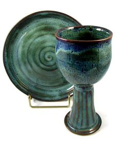 Ceramic Chalice and Paten Set  Custom and Handmade by PatsPottery, $48.00