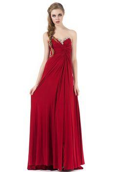 Elegant Empire Waist Strapless Red Prom Evening Dress JSLD0350