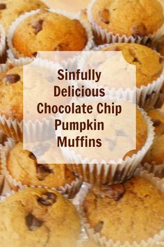 Guess what I have for you. The best pumpkin chocolate chip muffins recipe ever! We made them yesterday, and they are almost all gone. Moist and mouth watering good is what they are. Just Desserts, Delicious Desserts, Dessert Recipes, Yummy Food, Brunch Recipes, Pumpkin Recipes, Fall Recipes, Holiday Recipes, Yummy Treats