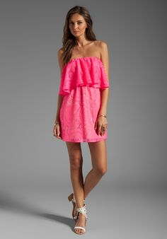 T-BAGS LOSANGELES Tiered Strapless Crochet Mini Dress in Neon Fuchsia - Dresses