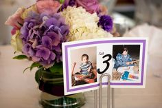 Table numbers with pictures of bride n groom at that age