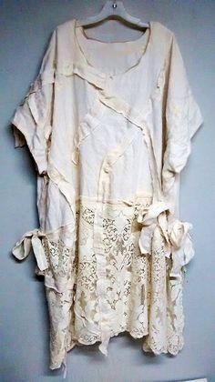 Cross Roads Peasant Gypsy Linen DressTunic 2X 3x by DivineRagz