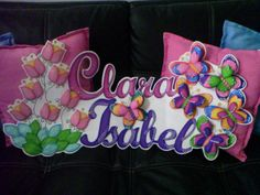 Clara Isabel Butterfly Crafts, Names, Banners, Molde, Feltro, Craft, Ideas, Notebooks, Butterfly Decorations