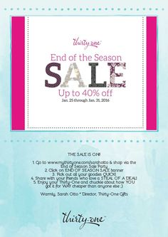 Have you heard the news?! The Thirty-One End of Season Sale started THIS MORNING! Don't miss out on the amazing deals! All info over at Tote-Ally FUNctional Bags with Sarah (www.facebook.com/groups/ToteAllyFUNctionalBagsWithSarah)!! Also, be sure to share with your friends. :) Friends don't let friends miss a good sale!! Shop: www.mythirtyone.com/209895/shop/Party/EventDetail/8953007