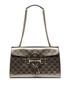 Emily Guccissima Leather Chain Shoulder Bag, Gray by Gucci at Neiman Marcus.