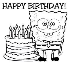 Spongebob Birthday Coloring Pages from SpongeBob Coloring Pages. Here are a lot of funny coloring pictures from Spongebob to print and color in. A large collection of Spongebob pictures is delighted not only by chil. Happy Birthday Coloring Pages, Easter Coloring Pages, Cartoon Coloring Pages, Happy Birthday Spongebob, Happy Birthday Grandpa, 4th Birthday, Birthday Ideas, Happy Birthday Printable, Happy Birthday Images