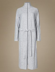 Marks and Spencer Striped Zip Through Dressing Gown Cover Up, Dressing, Gowns, My Style, Frank Stella, Pretty, Collection, Women, Fashion