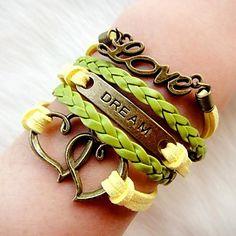 Women's Vintage Fashion Multideck Heart LOVE Braided Bracelet – USD $ 4.19