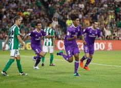 Raphael Varane of Real Madrid CF celebrates after scoring during the match between Real Betis Balompie and Real Madrid CF as part of La Liga at Benito Villamarín stadium October 15, 2016 in Seville, Spain.