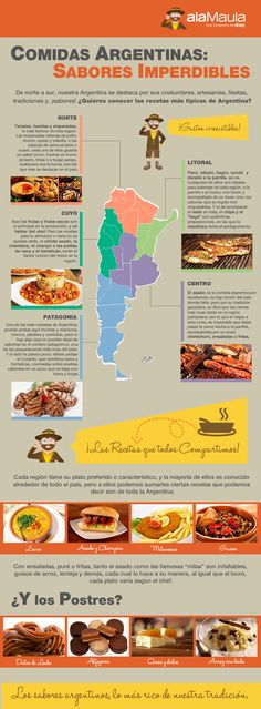This map shows the different parts of Argentina. It also shows what foods are most popular in each part of the country. Although this map is in Spanish you can still see what foods are most popular by the pictures.