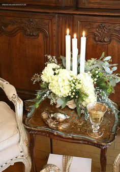 White Christmas Flowers French Country Style - French Garden House