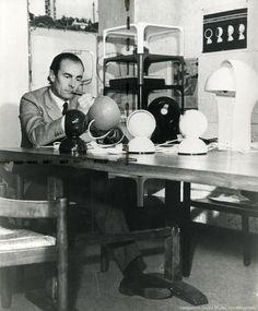 Vico Magistretti designing the Eclisse light for Artemide
