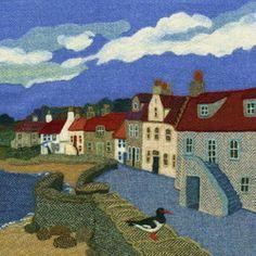 """Fife Shore"" - Harris Tweed needle felted paintings, giclee prints & greetings cards by Jane Jackson. www.brightseedtextiles.com"