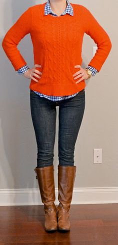 Pumpkin sweater with blue printed blouse underneath.