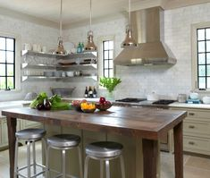 Eclectic U-shaped White kitchen, green cabinets, Christopher Architects, Tracery,