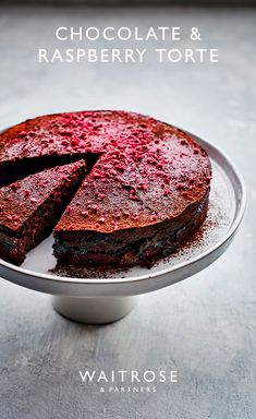 Dark chocolate and raspberry torte makes an indulgent bake, perfect for Mother's Day. Use Divine Fairtrade Smooth Dark Chocolate wih Raspberries for the ultimate richness. Tap to see the full Waitrose & Partners recipe. Chocolate Raspberry Cake, Chocolate Torte, Chocolate Desserts, Baking Chocolate, Sweet Recipes, Cake Recipes, Dessert Recipes, Food Cakes, Cupcake Cakes