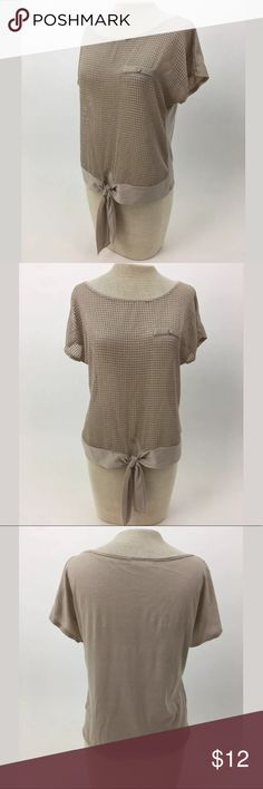 Mesh tie front top Length Shoulder To Hem: 22 Bust: 38 Waist: 35 Fabric Content: Polyester The front is see-through. There's no size tag, so please refer to measurements.  Item 2668 January 7 Tops