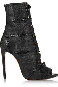 ALAÏA Watersnake-trimmed raffia ankle boots