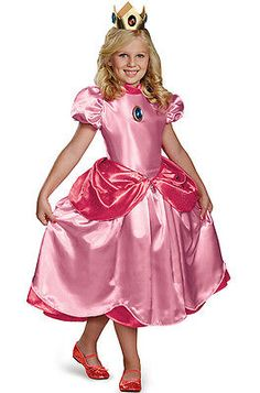 Halloween Costumes Kids: Brand New Super Mario Brothers Princess Peach Deluxe Child Costume -> BUY IT NOW ONLY: $32.88 on eBay!