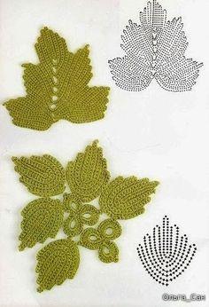 #Crochet_Stitches -- Beautiful Irish Crochet Leaves with Charts via #KnittingGuru ** http://www.KnittingGuruDesigns.blogspot.com