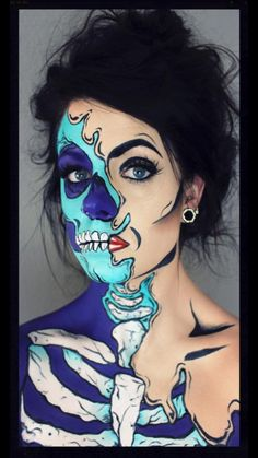 Pop art skull. Halloween makeup.