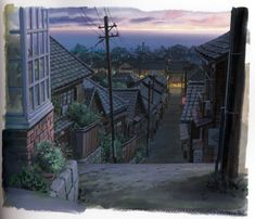 Background art from From Up on Poppy Hill - コ ク リ コ 坂 か ら (From Up on Poppy Hill - From the hill's exuberant)  Directed by Goro Miyazaki