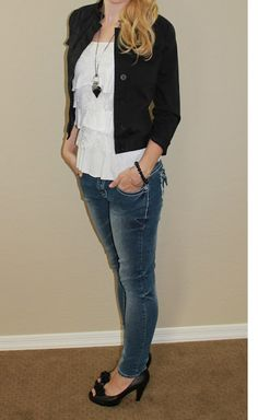 Ruffled white tank with skinny jeans, black jacket, and heels (along with other outfit ideas.)