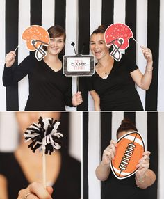 """You've probably already encountered a professional photo booth complete with props at a wedding or conference - so why not set one up to commemorate your Super Bowl fiesta?  It's a relatively easy craft to create, and the pictures will be so much better than the side profiles of everyone watching TV."""