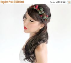 SALE Holiday Headband Rustic, red and green Crown, Christmas, Winter Headpiece, Wedding, Holly berries, pinecones, by DeLoop by deLoop on Etsy https://www.etsy.com/listing/168157698/sale-holiday-headband-rustic-red-and