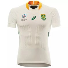 World Cup Jerseys, Rugby World Cup, Gold Stripes, Green Stripes, Gold Collar, One Team, Green And Gold, Asics, South Africa