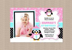 Pink Penguin Birthday Party Invitation by Honeyprint on Etsy, $15.00