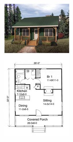 00 Country Style House Plan with 676 Sq Ft, 1 Bed, 1 Bath Tiny House Plan 49119 Tiny House Cabin, Tiny House Living, Tiny House Plans, Tiny House Design, Small Cabin Plans, Small Cabins, Tiny Home Floor Plans, 1 Bedroom House Plans, Guest House Plans