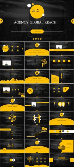 Business infographic : 28 yellow black business report PowerPoint templates on Behance Cool Powerpoint, Wallpaper Powerpoint, Powerpoint Design Templates, Professional Powerpoint Templates, Keynote Template, Infographic Powerpoint, Corporate Design, Corporate Presentation, Presentation Layout