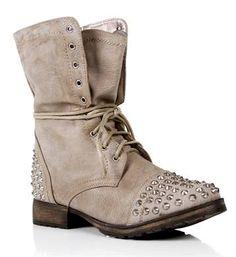 Chelsea Crockett: Taupe Lace Up Studded Combat Boots #Lockerz