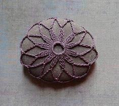 Decorative Arts, Art Object, Mixed Media, Crochet Lace Stone, Original, Handmade, Table Decorations, Soft Purple Thread, Nature