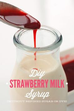 DIY Homemade Strawberry Milk Syrup. Made without refined sugar or artificial dyes!