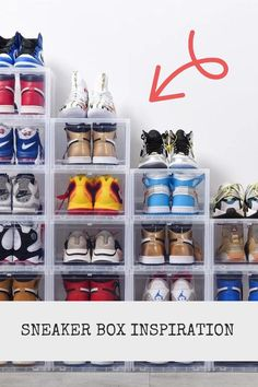 Here you will find some inspiration for your sneaker collection. With these boxes you can storage your favourite sneaker's in an easy and modern way. Sneaker Storage, Sneakers Box, Can Storage, Fresh Shoes, Shoe Rack, Boxes, Easy, Modern, Stuff To Buy