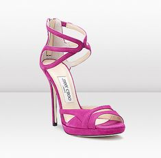 Extraordinary fuschia color! Love the design, but the heel is a bit too high for me!