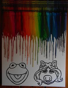 Kermit and Miss Piggy Melted Crayon Painting by OnceUponACrayon, $45.00