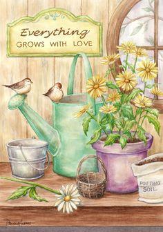 birds and spring daisies Danielle Acerra Pictures To Draw, Art Pictures, Watercolor Flowers, Watercolor Art, Etiquette Vintage, Art Calendar, Cow Art, Decoupage Vintage, Garden Pictures