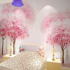 Decorating kids bedroom is fun! Particularly in case you're making the ideal space for your own youngster. Brightening children's room is fun and energizing for architects and inside decorators. Bedroom Carpet, Bedroom Wall, Kids Bedroom, Bedroom Decor, Bedroom Ceiling, Wallpaper Childrens Room, Tree Wallpaper Bedroom, Star Wallpaper, Wall Painting Decor