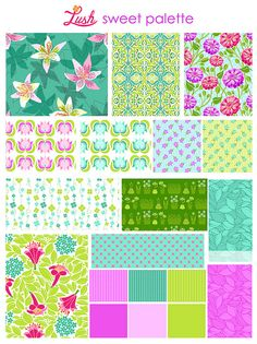 Lush for Michael Miller fabrics, sweet palette. There are my teals, citrons and greens again.