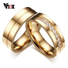 Cheap pair wedding rings, Buy Quality wedding rings for women directly from China wedding rings Suppliers: Vnox 1 Pair Wedding Rings for Women Men Couple Promise Band Stainless Steel Anniversary Engagement Jewelry Alliance Bijoux Couple Rings Gold, Promise Rings For Couples, Couple Jewelry, Wedding Rings For Women, Wedding Ring Bands, Rings For Men, Promise Band, Trendy Wedding, Gold Wedding