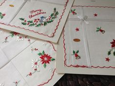 Set of 3 merry Christmas Bell Ornament Handkerchief unused Vintage Present Unique x-mas Deco Gift by Yebisu on Etsy