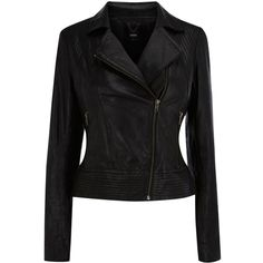 Oasis Leather Stitch Detail Jacket, Black ❤ liked on Polyvore