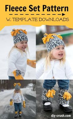 Free Fleece Mitten Pattern Set With Hat And Leg Warmers is part of Winter Sewing crafts - Get this free fleece mitten pattern along with the hat and leg warmers to sew this winter! These free fleece patterns are perfect to sew for a beginner Fleece Crafts, Fleece Projects, Sewing Projects For Kids, Sewing For Kids, Baby Sewing, Fabric Crafts, Sewing Ideas, Fleece Hat Pattern, Fleece Patterns