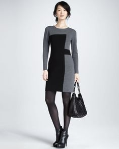gray and black sweater dress with ankle boots